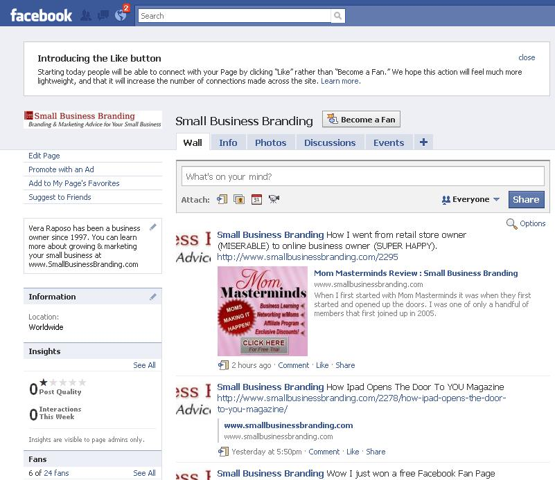 Facebook Fan Page –  A Quick Before & After
