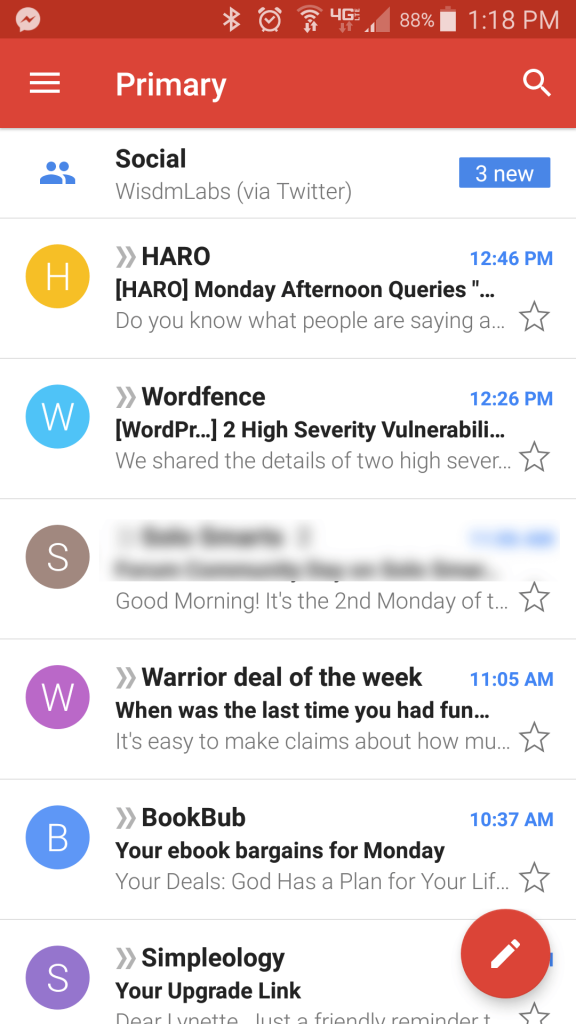 Mobile Gmail Inbox